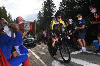 Mitchelton-Scott's Adam Yates climbs the Planche des Belles Filles during the stage 20 individual time trial at the 2020 Tour de France