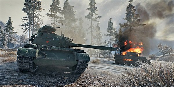 Tanks wage war in World of Tanks.