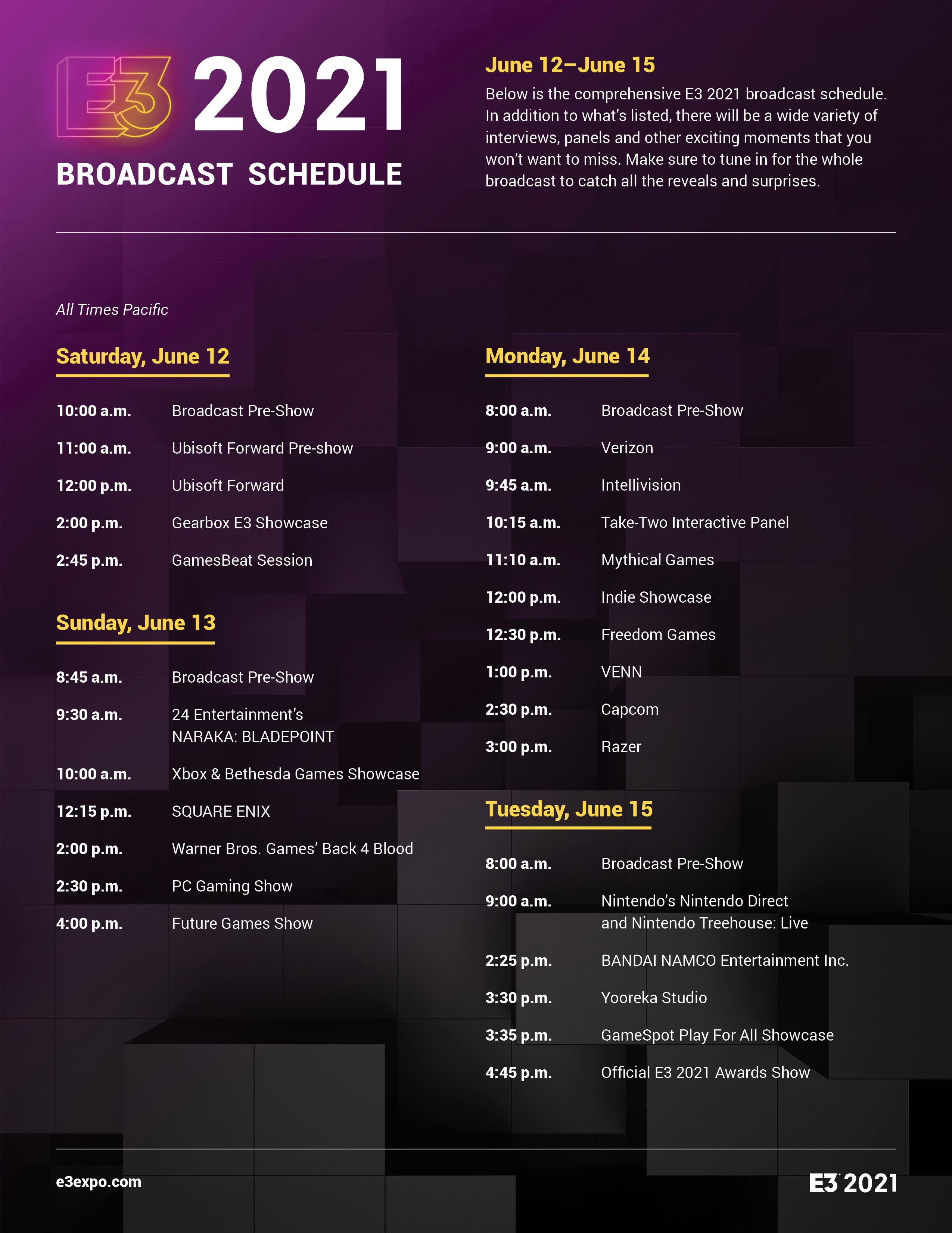 E3 Schedule