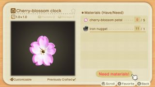 animal crossing new horizons cherry blossom recipes