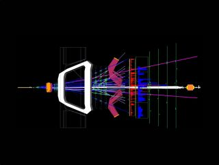 Two protons collide inside the Large Hadron Collider's LHCb experiment.
