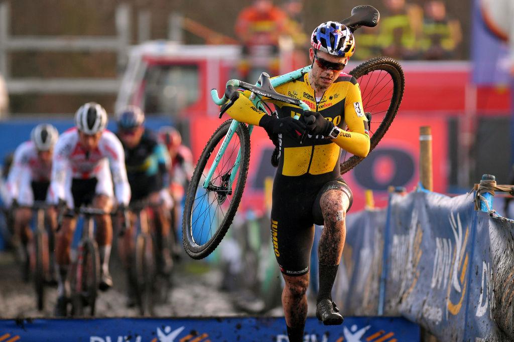 Wout Van Aert (Jumbo-Visma) racing cyclo-cross in Loenhout