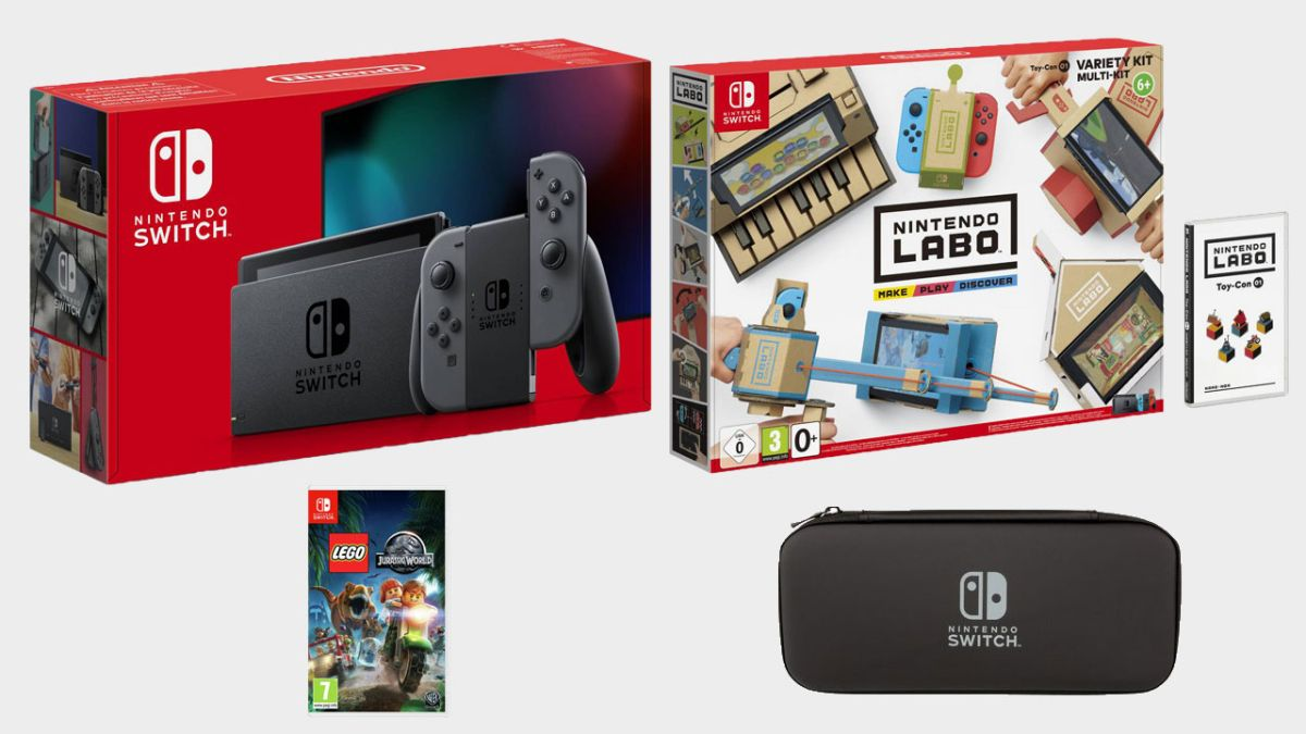Act fast and you can get a Nintendo Switch plus a Labo kit, Lego Jurassic World, and a case for just £299.99