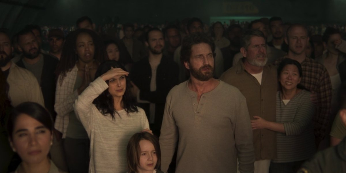 Gerard Butler, Morena Baccarin, and Roger Dale Floyd in Greenland