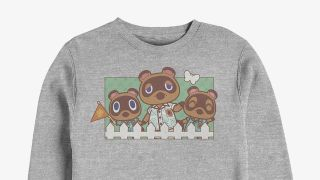 A sweater featuring Tom Nook and his nephews, Timmy and Tommy.