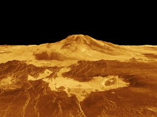 A computer-generated image of the mountain Mons Maat as seen from Venus' surface.