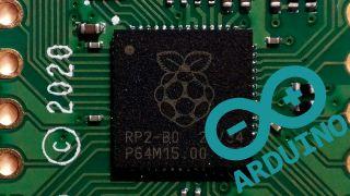 Arduino Logo on top of RP2040 SoC image
