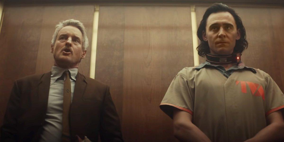 Owen Wilson and Tom Hiddleston have an elevator chat in Loki.