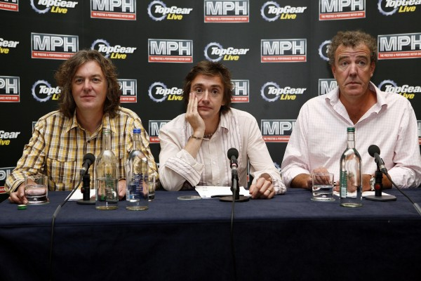 Top Gear presenters (l-r) James May, Richard Hammond and Jeremy Clarkson at a press conference in Tower Hotel