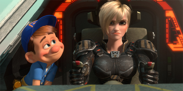 Fix-It Felix makes doe eyes at Sgt. Calhoun in Wreck-It Ralph