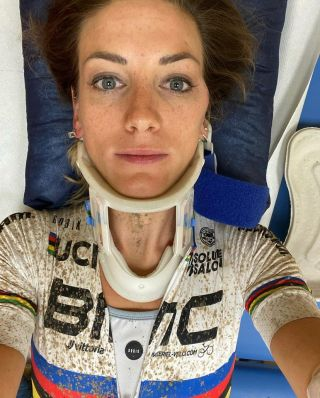 Ferrand-Prevot after her crash during the short track race in Nove Mesto