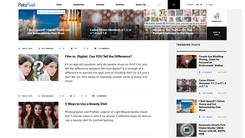 PetaPixel homepage screenshot