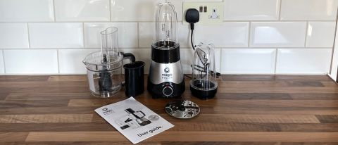 Nutribullet Magic Bullet Kitchen Express on a kitchen countertop with all its accessories