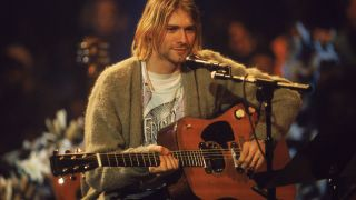 American singer and guitarist Kurt Cobain (1967 - 1994), performs with his group Nirvana at a taping of the television program 'MTV Unplugged,' New York, New York, November 18, 1993.