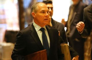 President-elect Donald Trump has chosen Oklahoma Attorney General Scott Pruitt as the head of the U.S. EPA. Here, Pruitt arrives at Trump Tower on Dec. 7, 2016, in New York City.