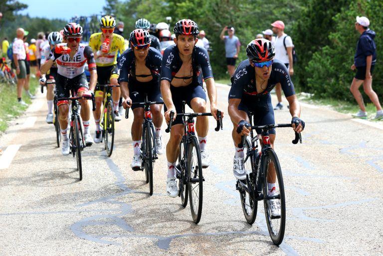 Richie Porte, Michal Kwiatkowski and Richard Carapaz on stage 11 of the 2021 Tour de France