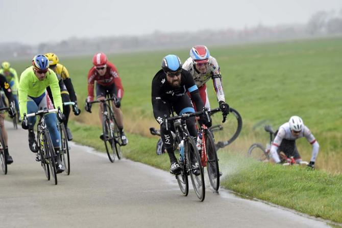 Gert Steegmans heads for the canal at Gent-Wevelgem