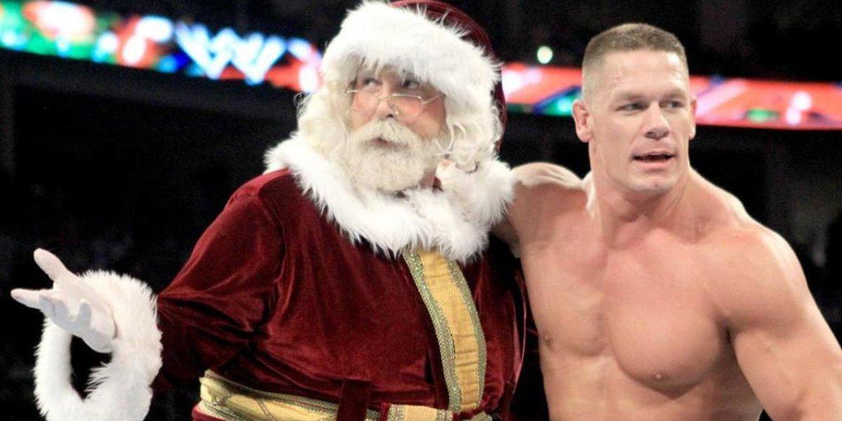 Santa Clause, aka Mick Foley, and John Cena on Monday Night Raw