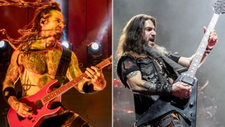 Guitarists Logan Mader and Robb Flynn performs with Machine Head at Fox Theater on February 21, 2020 in Oakland, California.