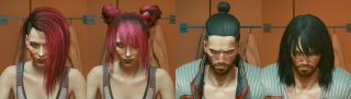 An image of the character V from Cyberpunk 2077 with several different haircuts.