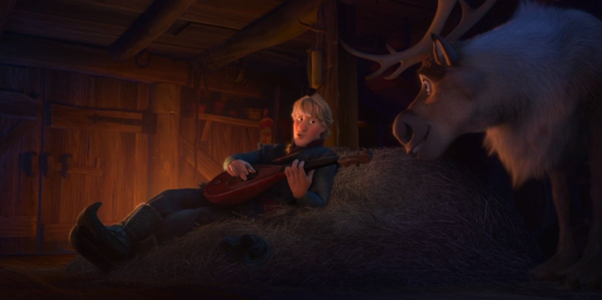 Kristoff playing the lute in Frozen