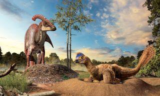Nesting dinosaurs illustration