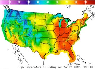 temperature map, high temperatures today, record temps today, where is it hot today, does this mean summer will be hot, predicting summer temperature, weather, earth, environment