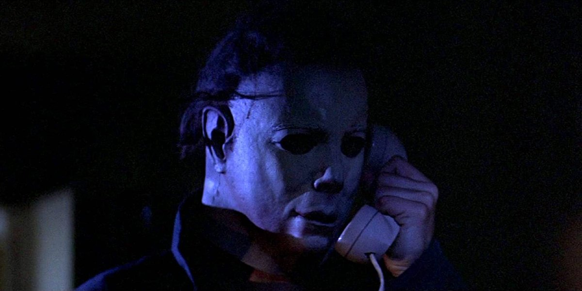 Halloween Michael Myers taking a very important phone call