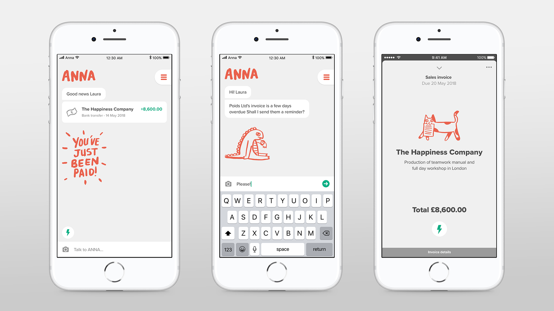 Mobile devices displaying ANNA messages and illustrations