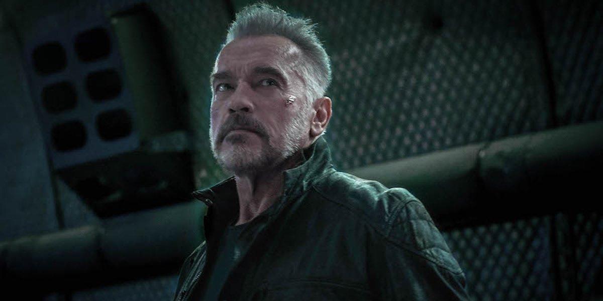 Arnold Schwarzengger's T-800 glaring in Terminator: Dark Fate