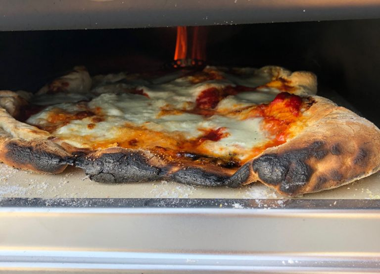 Pizza made in the Roccbox oven