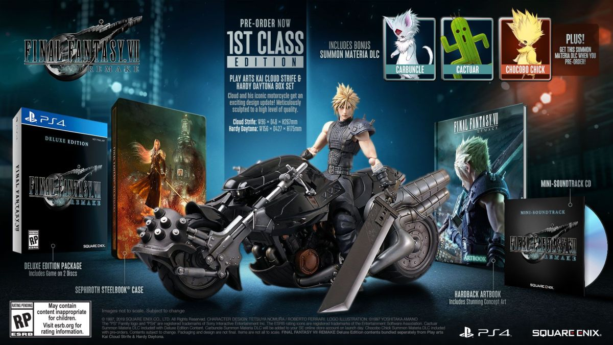 Final Fantasy 7 Remake fancy edition comes with Big Cloud and a super saiyan Chocobo