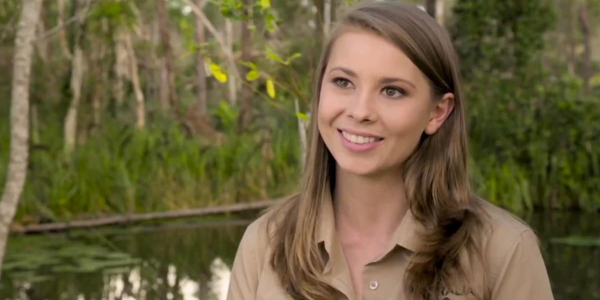 Crikey! It's The Irwins Bindi Irwin in front of an enclosure