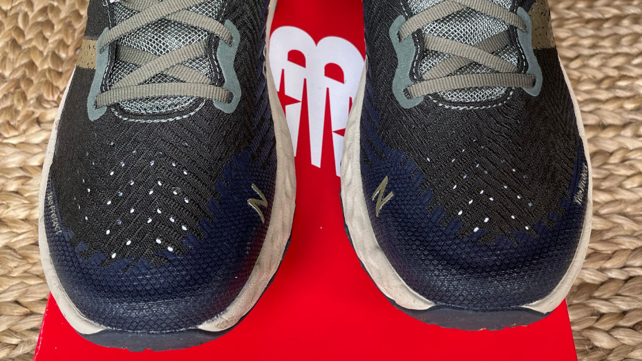 Close-up on the uppers of a pair of New Balance Fresh Foam Hierro v6 shoes