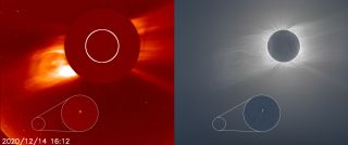(Left) The SOHO observatory spotted comet C/2020 X3, seen in the bottom left-hand corner. (Right) A composite image shows the sun's corona as seen during the total solar eclipse on Dec. 14, 2020.