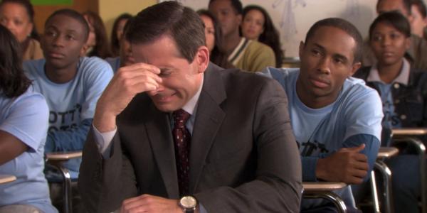 Michael Scott putting his head down during Season 6 The Office