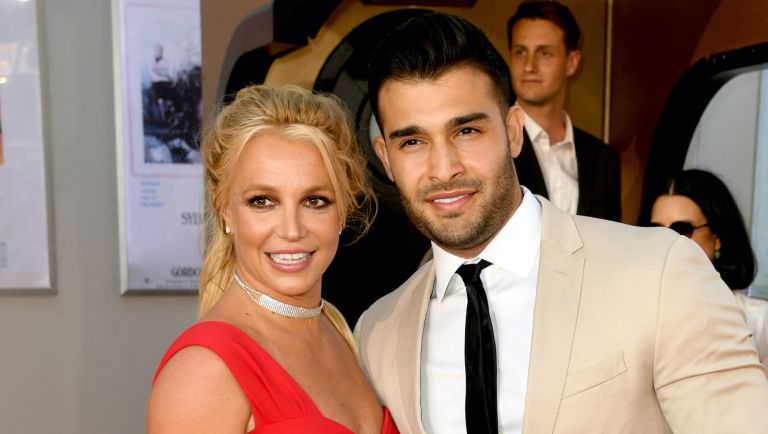 """Britney Spears and Sam Asghari attend the Sony Pictures' """"Once Upon A Time...In Hollywood"""" Los Angeles Premiere on July 22, 2019 in Hollywood, California"""