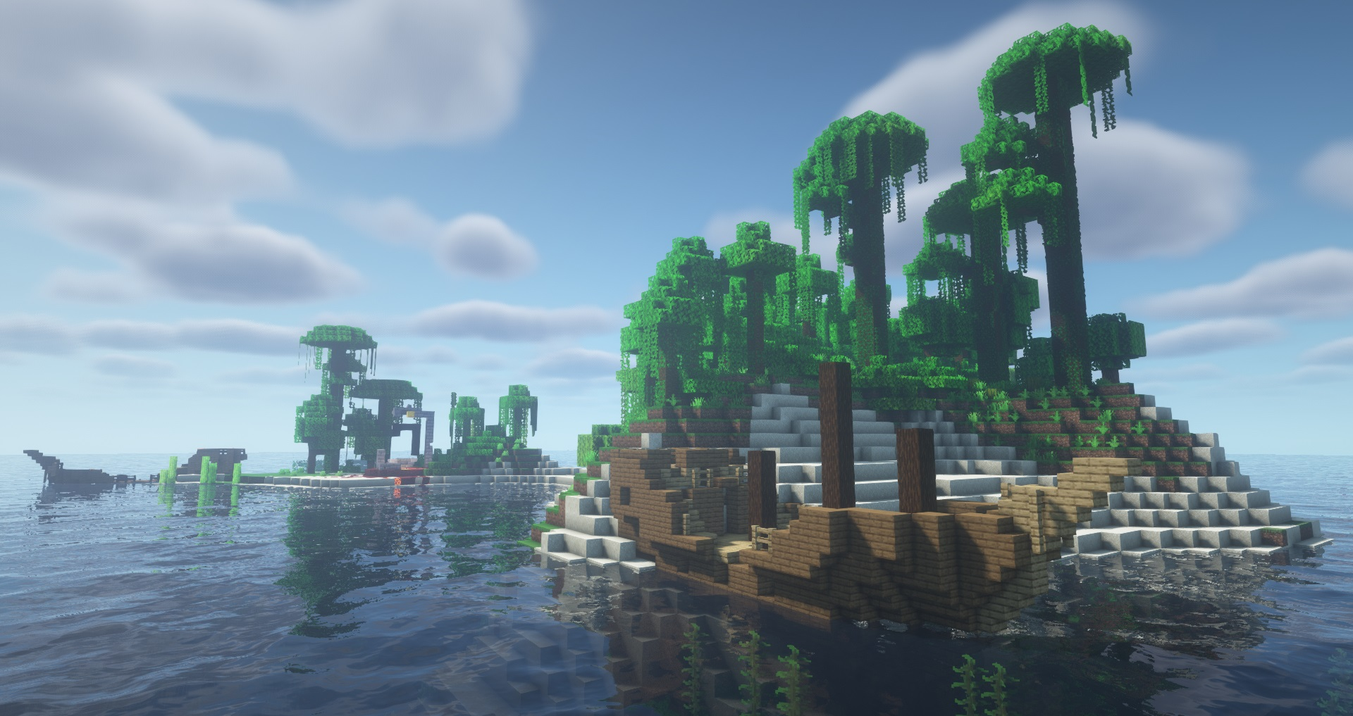 Minecraft seeds - Double shipwreck castaway - A small jungle island with two wrecked ships on its beaches and a ruined nether portal