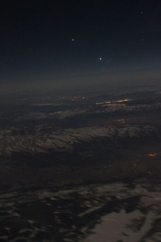 Two skywatchers snapped this photo of Venus and Jupiter from a commercial airliner on March 8, 2012.