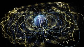Around Earth, an invisible magnetic field traps electrons and other charged particles.