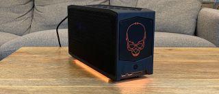 An 8-liter barebones gaming PC with a big RGB skull on it