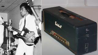 Jimi Hendrix playing his 1962 Fender Jazzmaster (left), a Marshall Super Lead