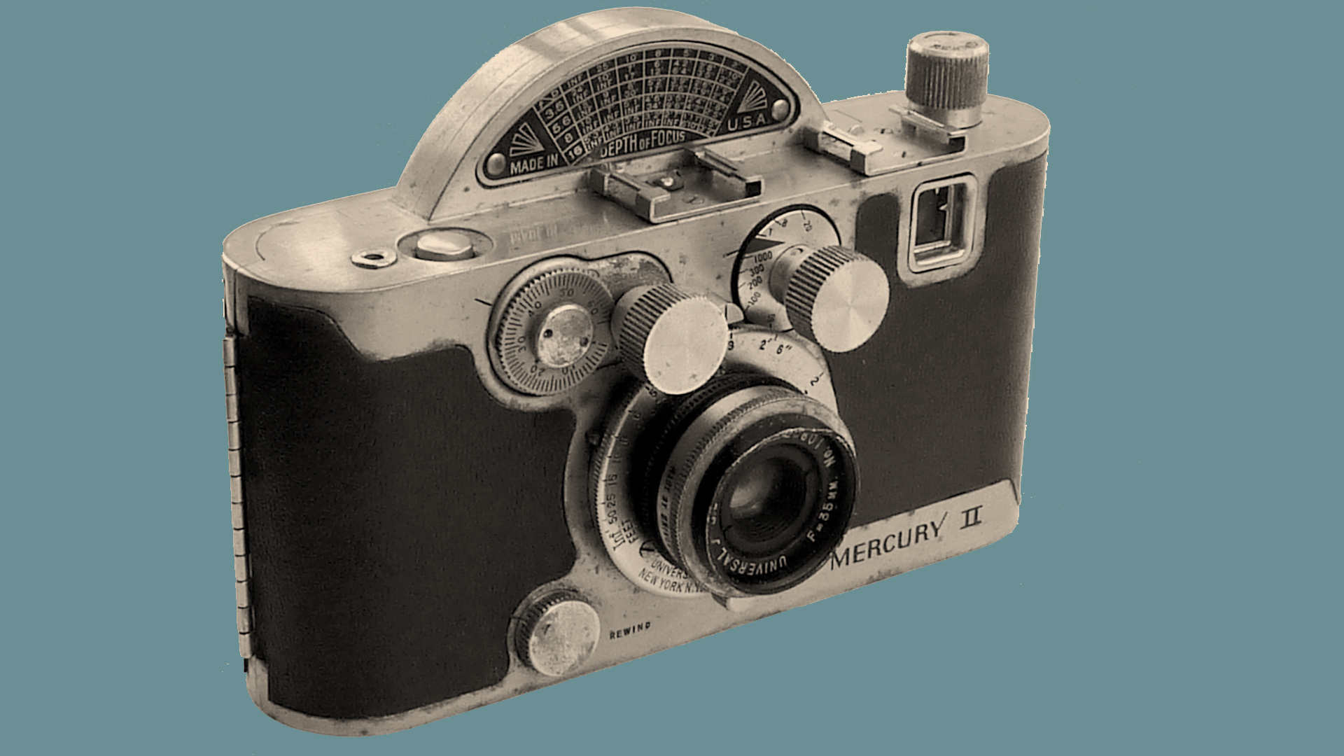The front of the Mercury II camera on a blue background