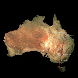 cosgrove volcano track shown on map of australia