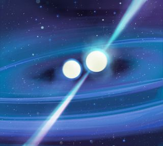 An artist's illustration of two doomed neutron stars spiraling in toward an eventual collision.