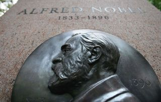 A monument to Nobel Prize founder Alfred Nobel in New York City, as seen in 2006.