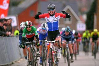 TIELTWINGE BELGIUM MARCH 01 Arrival Lorena Wiebes of The Netherlands and Team Parkhotel Valkenburg Celebration Marta Bastianelli of Italy and Team Al Btc Ljubljana during the 16th Spar Omloop Van Het Hageland 2020 Women Elite a 130km race from Tienen to TieltWinge LottoCyclingCup BELCycling on March 01 2020 in TieltWinge Belgium Photo by Luc ClaessenGetty Images