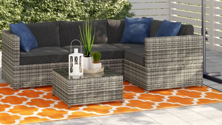 Wayfair Way Day sale with a corner sofa set in an outdoor living area