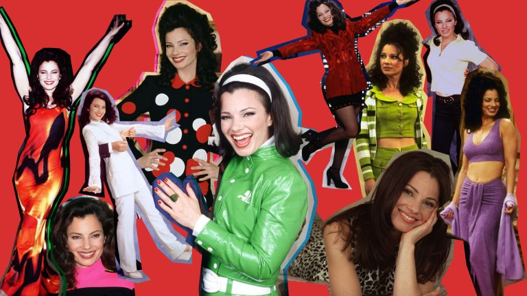 Collage of Fran Drescher as Fran Fine in the Nanny