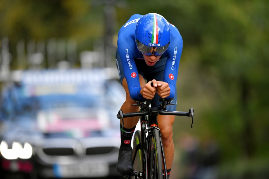 Antonio Tiberi overcomes unlucky start to seal remarkable men's junior time trial world title